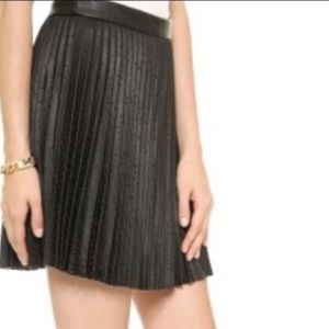 Club Monaco perforated faux leather pleated skirt